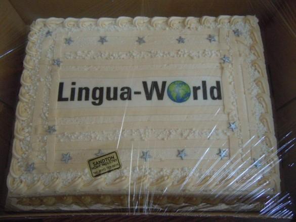 Geburtstagstorte mit Lingua-World Logo