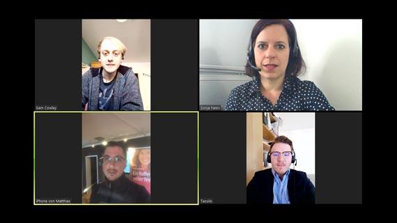 Verbindung durch Lingua-World Projektmanager mit Gesprächspartner und Dolmetscher.